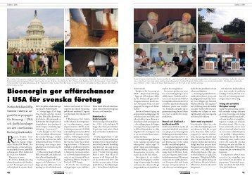 Bioenergin ger affärschanser i USA för svenska företag