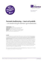 Formativ bedömning – i teori och praktik – om ... - InfoMentor