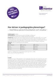 Hur skriver vi pedagogiska planeringar? – med fokus ... - InfoMentor