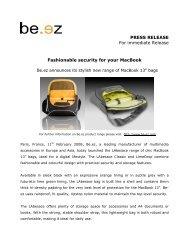 PRESS RELEASE For immediate Release Fashionable ... - be.ez