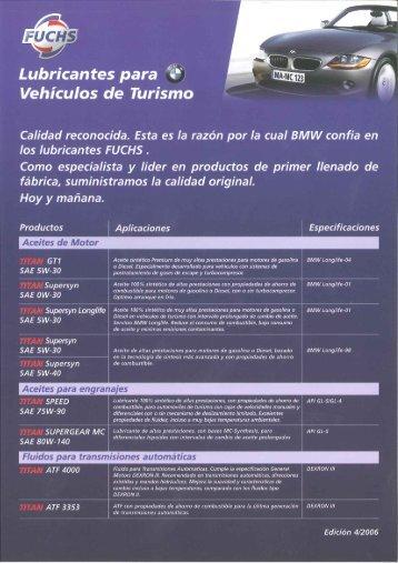 Gama de Lubricantes para Vehículos de turismo BMW