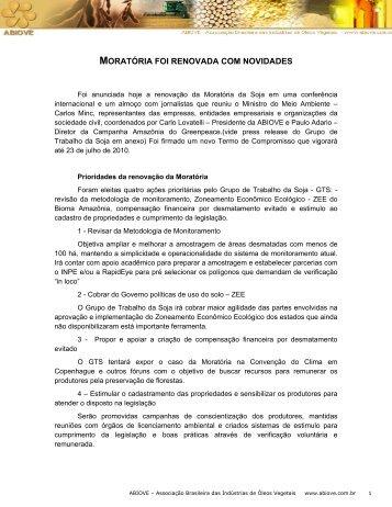Moratória foi renovada com novidades - ABIOVE - Associação ...