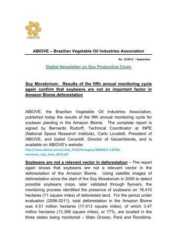 ABIOVE – Brazilian Vegetable Oil Industries Association Digital ...