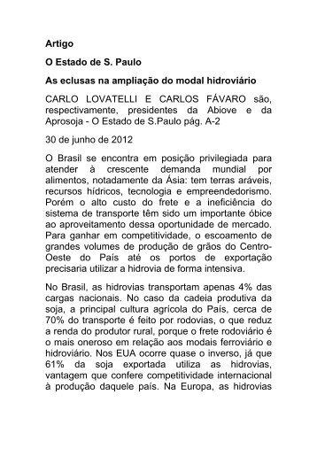 Artigo O Estado de S. Paulo As eclusas na ampliação do modal ...