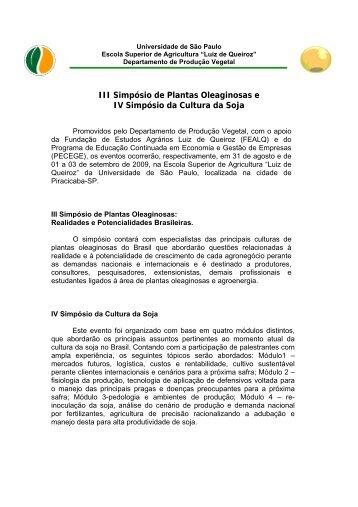 III Simpósio de Plantas Oleaginosas e IV Simpósio da Cultura da Soja