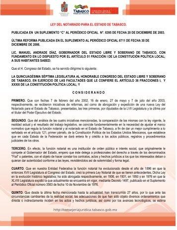 ley del notariado para el estado de tabasco. publicada en un ...