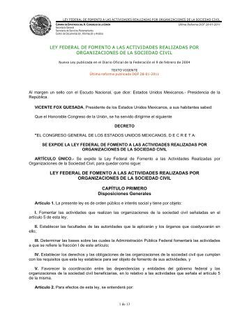 Ley Federal de Fomento a las Actividades Realizadas ... - Normateca