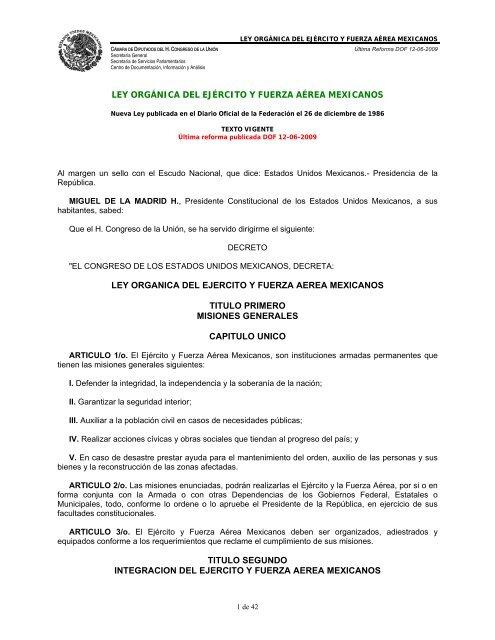Ley Orgã Nica Del Ejã Rcito Y Fuerza Aã Rea Mexicanos