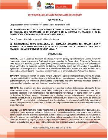 ley orgánica del colegio de bachilleres de tabasco - Universidad ...