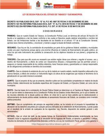 Ley de Deuda Pública del Estado de Tabasco y sus Municipios