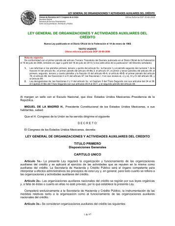 ley general de organizaciones y actividades auxiliares del ... - Siger