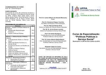 """Curso de Especialização: """"Políticas Públicas e Serviço Social"""" - ascom"""
