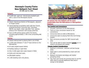 Hennepin County/Twins New Ballpark Fact Sheet - Minnesota Twins
