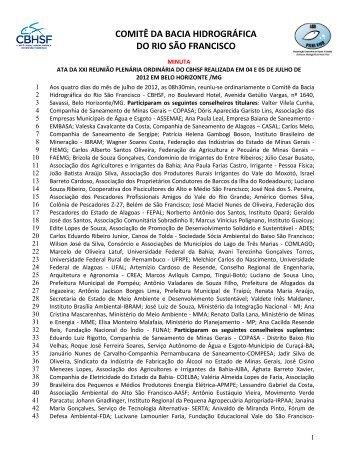 Minuta ata Reunião Belo Horizonte 4 e 5 julho 2012 - CBH São ...