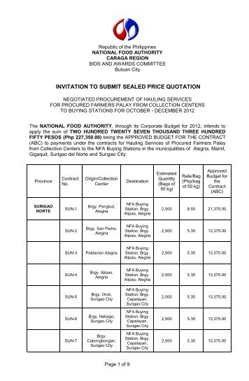 Invitation To Submit Price Quotation - Nfa