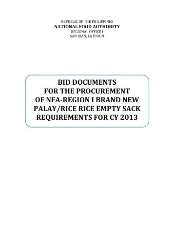 bid documents for the procurement of nfa-region i brand new palay ...