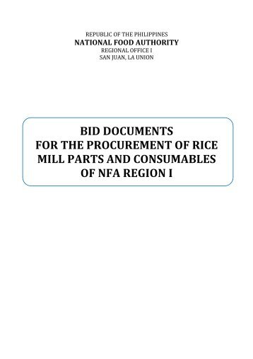 bid documents for the procurement of rice mill parts and ...