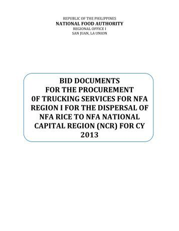 bid documents for the procurement 0f trucking services for nfa region ...