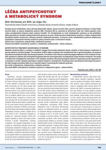 LÉČBA ANTIPSYCHOTIKY A METABOLICKÝ SYNDROM - Solen