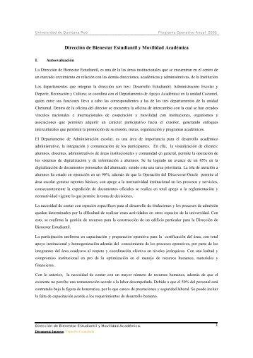 Dirección de Bienestar Estudiantil y Movilidad Académica - Sistema ...