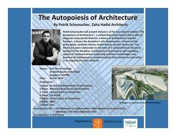 The Autopoiesis of Architecture - APEX - Singapore Institute of ...
