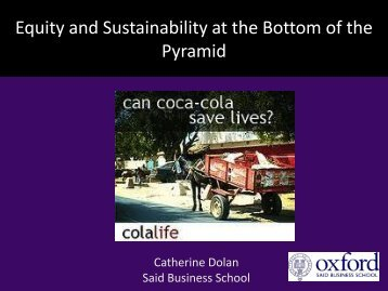 Equity and Sustainability at the Bottom of the Pyramid