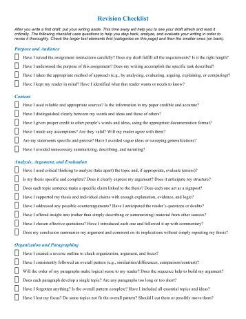 checklist essay revision Checklist on writing a deductive literary analysis essay hand in this checklist filled-out with your essay's rough draft materials i expect you to do each one of.
