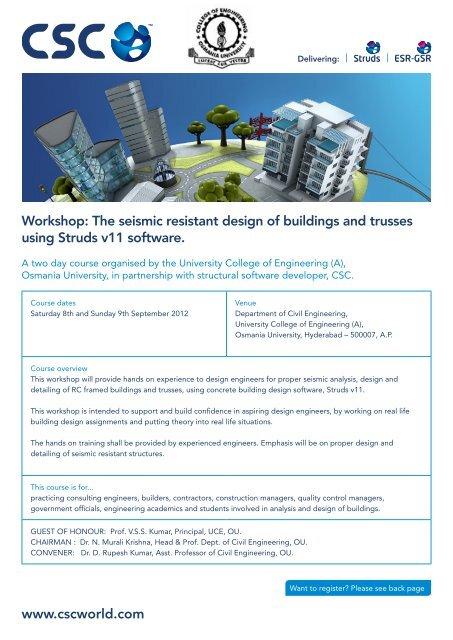 Seismic Resistant Design Struds Brochure Pdf University College