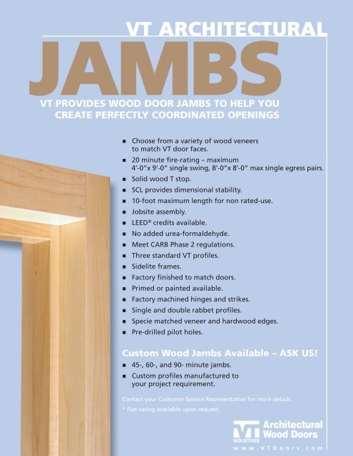 VT PRoVideS Wood dooR JAmbS To helP yoU     - VT Industries Inc