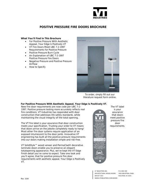 Positive Pressure Fire Doors Brochure - VT Industries Inc