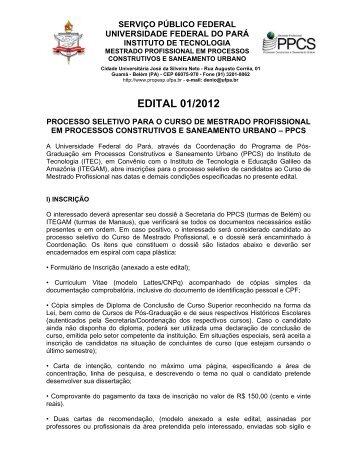 Edital PPCS - 01/2012 - Propesp - Universidade Federal do Pará