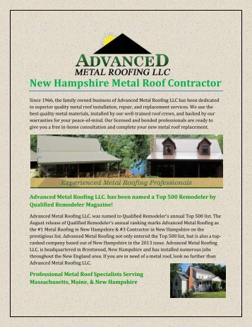 New Hampshire Metal Roof Contractor