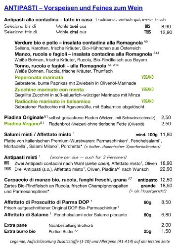 STANDARD-SPEISEKARTE / Menù regolare - Bio-Hostaria RÒ E BUNÌ