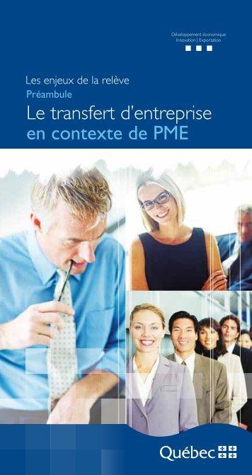 Le transfert d'entreprise en contexte de PME - mdeie