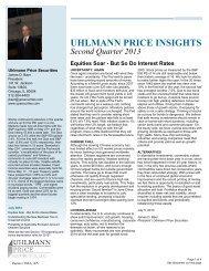 Quarter 2 2013 Uhlmann Price Newsletter - Uhlmann Price Securities