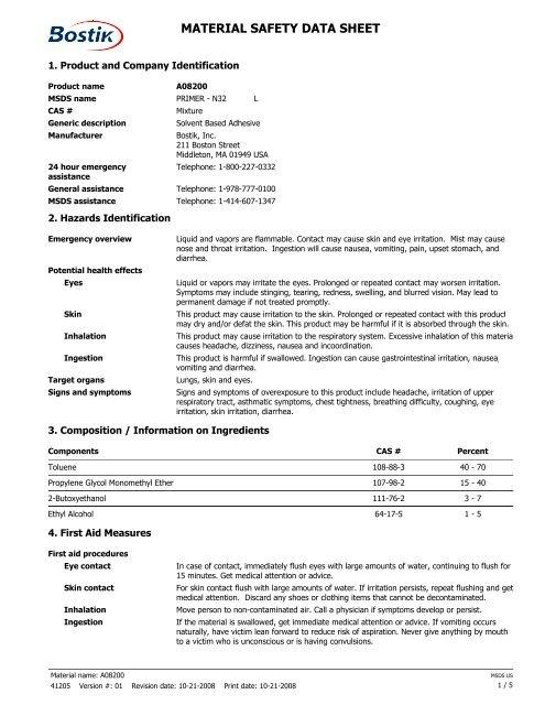 MSDS (N-32) - Bostik, Inc