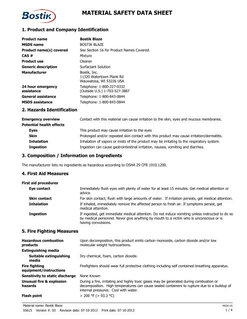 MATERIAL SAFETY DATA SHEET - MSDS - Bostik, Inc