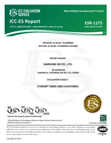 IccEs Evaluation Report Esr  IccEs Pmg Listing Program