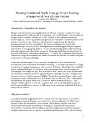 Meeting Nutritional Needs Through School Feeding - A Snapshot of ...