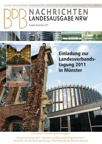 Landesverbands- tagung 2011 - Bund deutscher Baumeister NRW