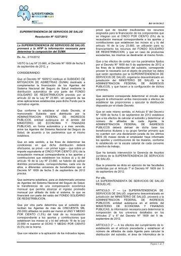 SUPERINTENDENCIA DE SERVICIOS DE SALUD Resolución Nº ...