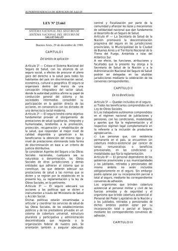 LEY Nº 23.661 - Superintendencia de Servicios de Salud