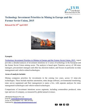 JSB Market Research: Technology Investment Priorities in Mining in Europe and the Former Soviet Union, 2015