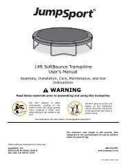 SoftBounce™ Trampoline User's Manual - JumpSport