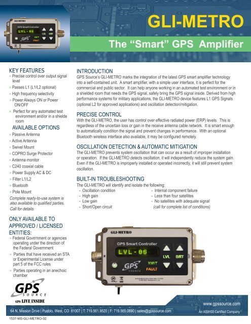 GLI-METRO Smart GPS Amplifier - GPS Source