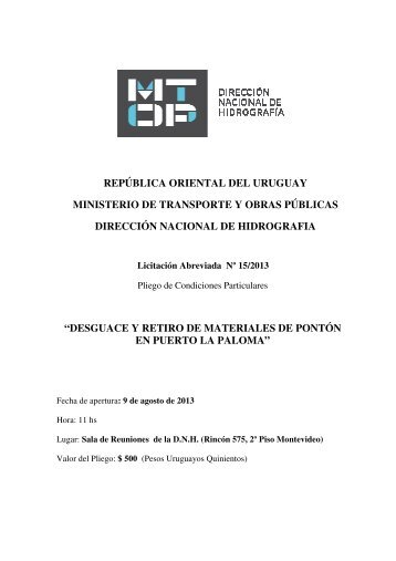 república oriental del uruguay ministerio de transporte y obras ...