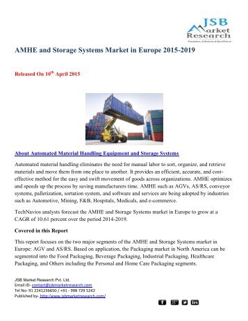 JSB Market Research: AMHE and Storage Systems Market in Europe 2015-2019