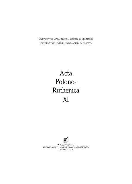 Acta Polono Ruthenica Xi