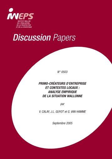 Primo-créateurs d'entreprise et contextes locaux - IWEPS