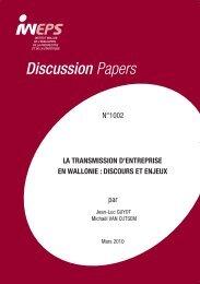 La transmission d'entreprise en Région wallonne : discours ... - Iweps
